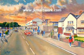 Ninian park going to the match  a3 print